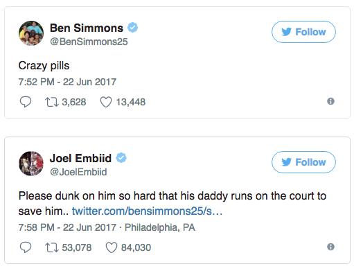 joel embiid -ben-simoons-tweet