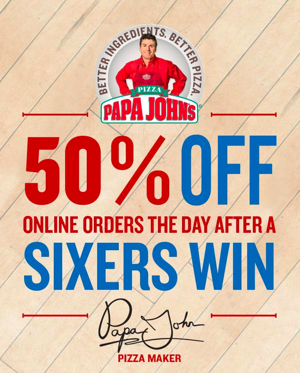 The Sixers Are So Bad That Papa John's Now Gives 50% Off Pizzas If