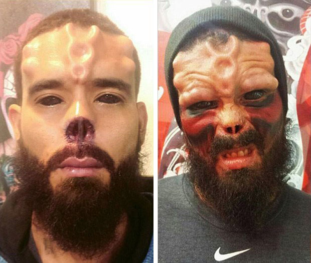 Red skull fan chopped off his nose and tattooed his for Cut off tattoo