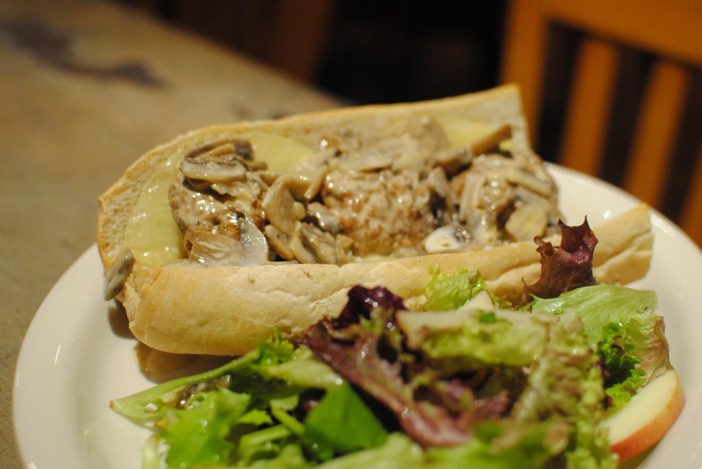 Italian Meatball Submarine with Lamb and Mushroom cream sauce