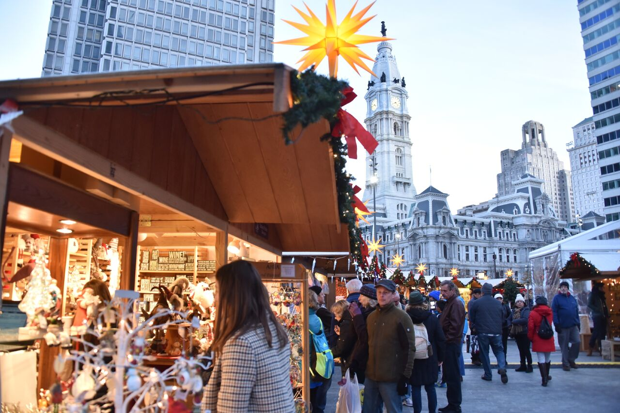 Christmas Village Love Park.The Christmas Village Is Back At Love Park And Features Beer