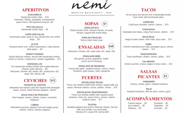 nemi-food-menu