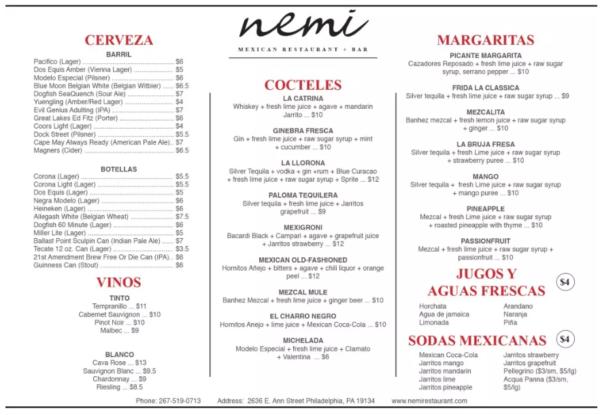 nemi-drink-menu